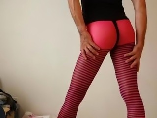 Crossdresser in tight spandex