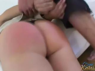 Busty czech pornstar Katrin Kozy gets her nice ass spanked!