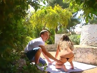 Sweet babe Anita B gets a hard cock pounding her ass in the outdoors