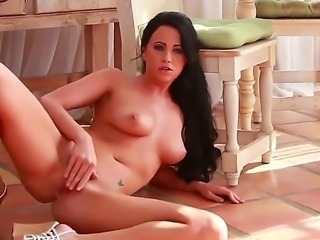 Brunette babe Chloe James fingering her narrow trimmed vagina in different poses