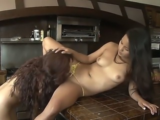 Two sensual and hot brunette girls Gia Steel and Lana Violet enjoy in licking...