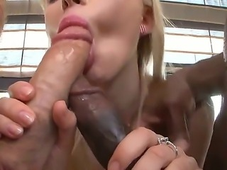 Lovely Sasha Rose is giving wet double blowjob to Rocco Siffredi and tough...