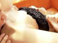 Hot chick Cindy Hope naughtily masturbating her pussy and sucking her...