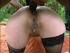 Nice french mature woman outdoor gangbang with several guys.