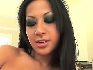 Naughty brunette Gianna gives amazing handjob bringing her boyfriend to the...