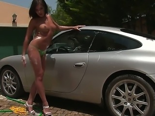 It is perfect sunny day for beautiful porn actress to walk naked and...
