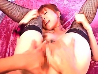 Rin Sakuragi with her hairy pussy looks very hot in her black stockings