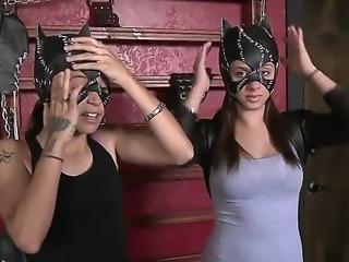Money Talks Show scene with super hot tall blonde and fetish bondage scene