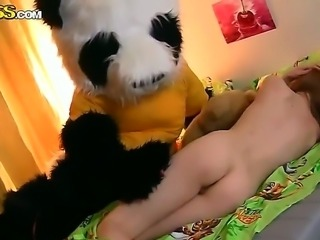Ivy fucking with her big and horny toy bear that has powerful black cock