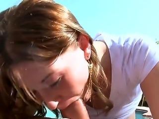Sexy big boobs Sara Stone in the swimming pool sucking a huge hard pole