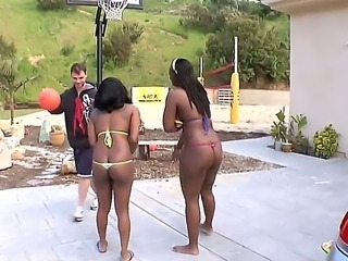 Two sympathetic ebony whores Aryana Starr and Jada Fire play voley and get...