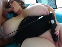 Sexy guy is drilling the tight pussy of the fat babe with natural huge...