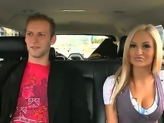 Blonde Amy Reid enjoys long ride with the bang bus along horny stud