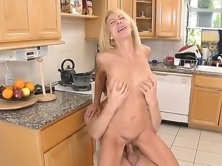 Danny Wylde bangs his girlfriends mother Erica Lauren at the kitchen before...