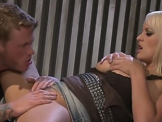 Very hot blonde with big boobs is giving blowjob and getting fucked by a...