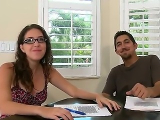 Hot babe in sexy glasses came for her first audition! She looks very happy...