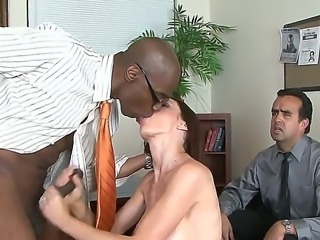 Busty milf McKenzie Lee gives memorable blowjob to black stud Sean Michaels...