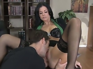 Hot teacher India Summer lets horny hunk to touch and lick her tight mature...