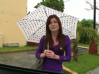 Little Annie walking through the streets of Miami on this rainy day must be...