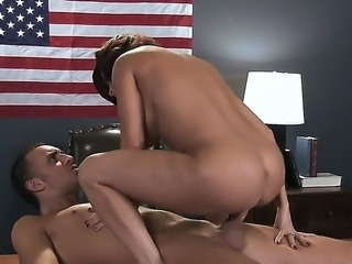 Very hot brunet milf is giving blowjob and having sex with her neighbor dude...