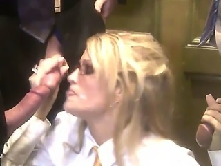 Amazing slutty whore Jessica Drake, with fucking glasses want to suck two...