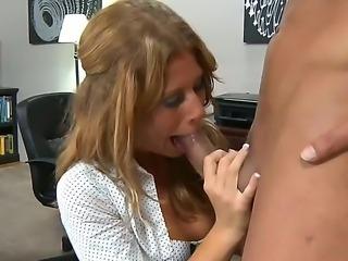 Blonde secretary Brooklyn Lee pleases her horny bossMarco Banderas with a...