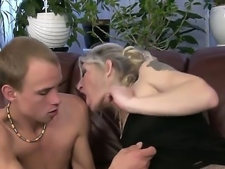Angeline is one horny grandma that recently has found a young boy that needs...