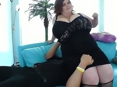Very hot bbw with enormous boobs likes to facesit her man and get her tits...