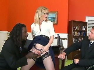 Black filthy fucker Nathan Threat enjoys licking good looking mature blonde...