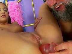 Young babe Amirah Adara is relaxing with old fart before the camera. She...