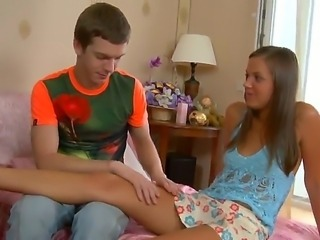 The attractive and very appetizing teen blonde Katrina gets seduced and sucks...