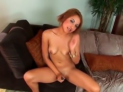Young girl with hot round boobies Veronique Vega naughtily spreading her legs...
