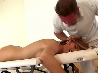 Sexy whore Leyla Black dominated, fixed and fucking disgraced on the massage...