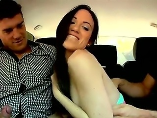 Young brunette pleasing two handsome fellows in a car and gets drilled really...