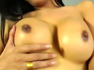 Slutty sexy horny model brunette Paula B shemale enjoys striking her massive...