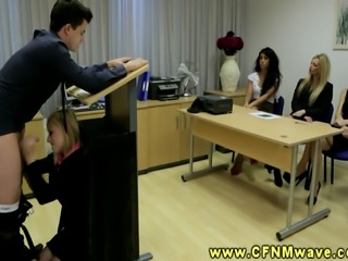 Blonde CFNM babe sucks of dude below standard during his presentation