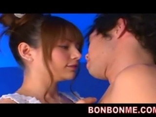 Rio cute hybrid japanese teen doll gives blowjob to lucky guy