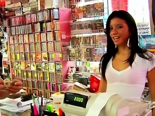 Delicious Latin seller in music store Bianca Jacobs seducing Ramon Nomar