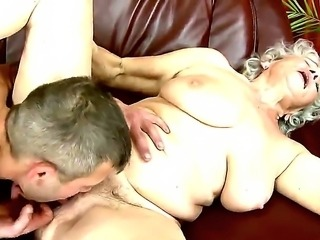 Neighborhood granny Norma gets her old and hairy pussy fucked and licked by a...