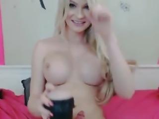 Hot Blonde Tranny Stroking her Hard Dick