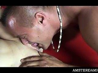 Lucky tourist enjoying Amsterdam bald pussy in his sex trip