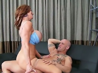 Horny mature hottie Deauxma loves to lick and kiss a long stiff cock before...