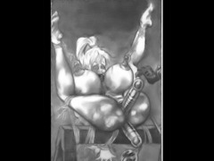 Massive round full breasts tied with ropes and tormented by evil huge breast...