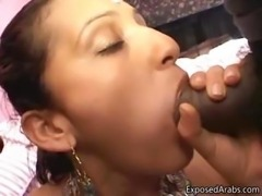 Horny Arabian girl sucking of two big part4