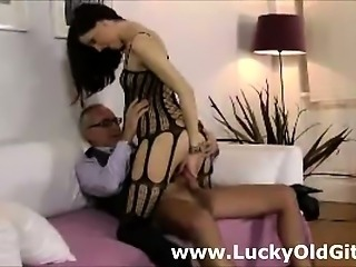 Young slut gets older British dude's cock