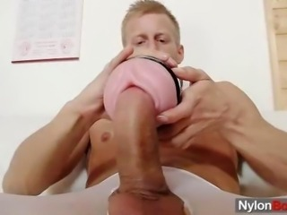 Solo gent hose and masturbation
