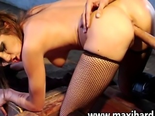 Hot brunette with clips on her tits gets fucked real hard she takes it like a...