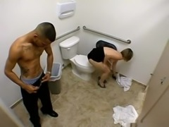 Toilet Fuck Giving Head then Fucking and Taking a Facial Cum Load free