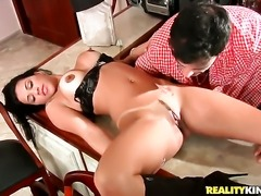 Piercings senora Roge Ferro with huge tits and bald twat gets the pleasure...