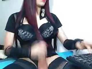 Busty Tranny Jerking Her Cock